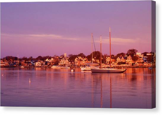 Marthas Vineyard Canvas Print - Edgartown Harbor by John Burk