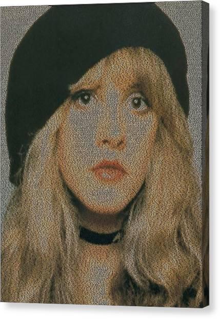 Stevie Nicks Canvas Print - Edge Of 17 Lyric Mosaic by Paul Van Scott