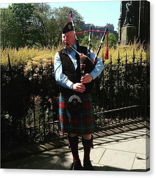 Bagpipes Canvas Print - #edinburgh #scotland #scottish by Christos Mouzeviris