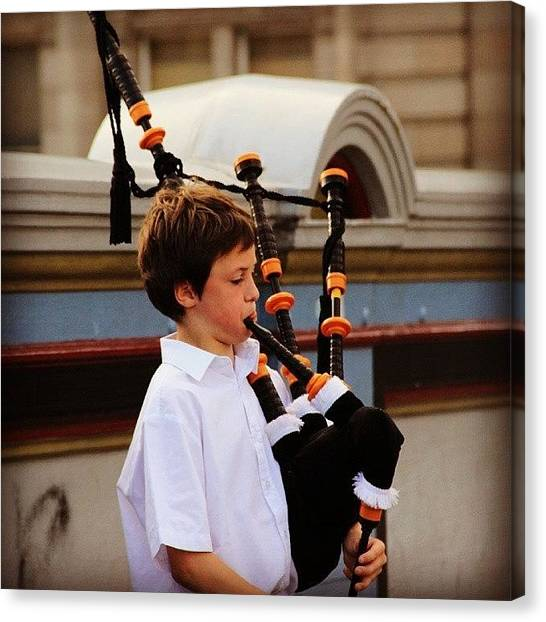 Bagpipes Canvas Print - #edinburgh #scottish by Abhijna Priyadarshini