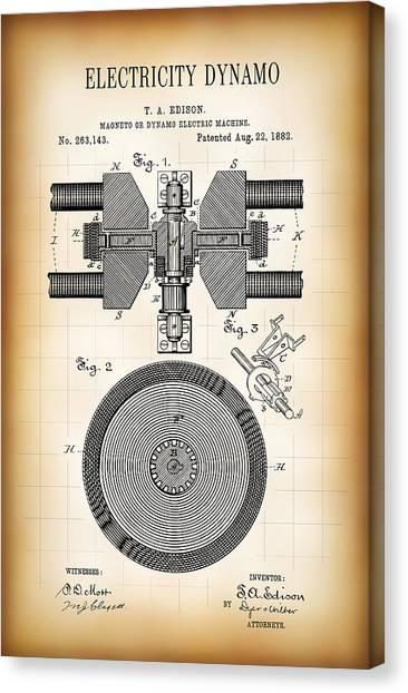 Transmission Canvas Print - Edison Electricity Generator Dynamo  1882 by Daniel Hagerman