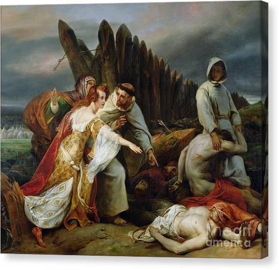 Horror Canvas Print - Edith Finding The Body Of Harold by Emile Jean Horace Vernet
