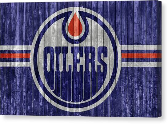 Edmonton Oilers Canvas Print - Edmonton Oilers Barn Door by Dan Sproul