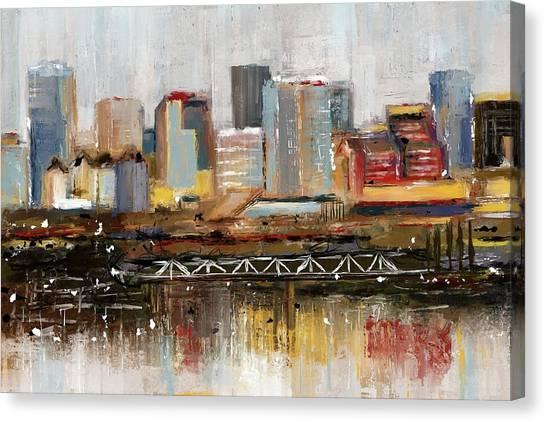 Edmonton Skyline Abstract1 Canvas Print