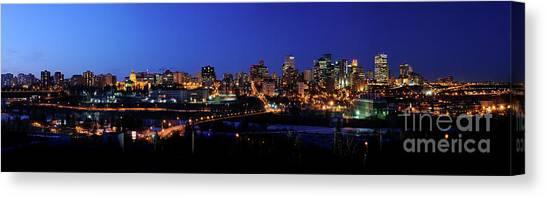 Edmonton Skyline Panorama 4 Canvas Print by Terry Elniski