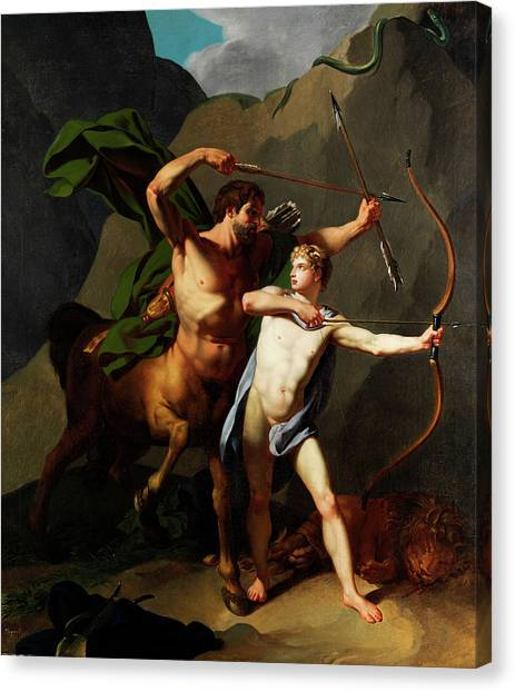 God Of War Canvas Print - Education Of Achilles By The Centaur Chiron by Baptiste Regnault