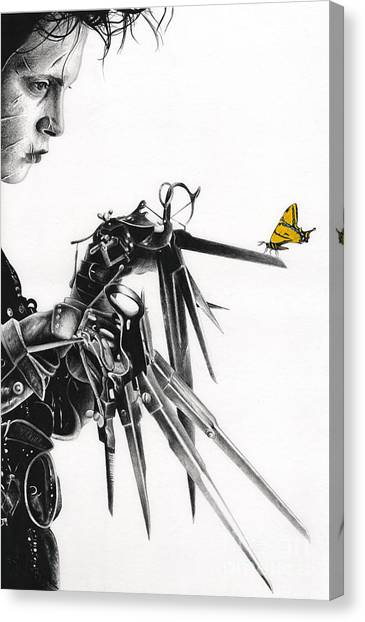 Johnny Depp Canvas Print - Edward And A Butterfly by James Holko