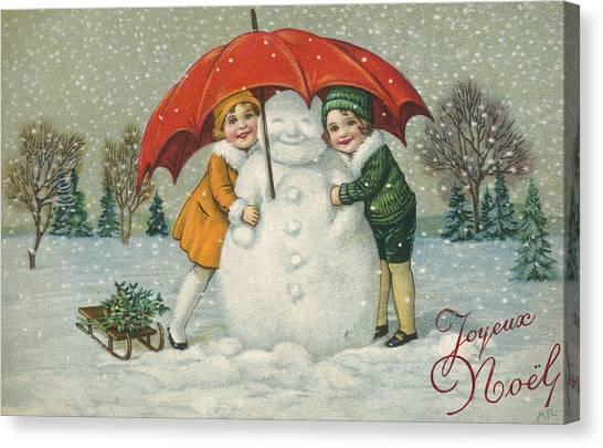 Mistletoe Canvas Print - Edwardian Christmas Card by English School