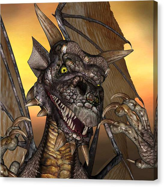 'edwin' Dragon - With Claws Like These Who Needs A Tooth Pick  Canvas Print
