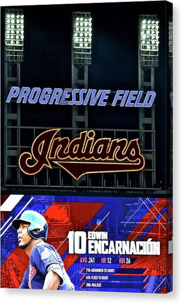 Cleveland Indians Canvas Print - Edwin Encarnacion by Frozen in Time Fine Art Photography