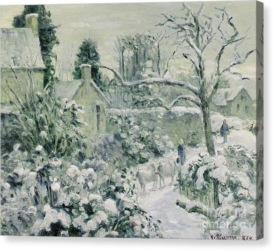 Jardin Canvas Print - Effect Of Snow With Cows At Montfoucault by Camille Pissarro