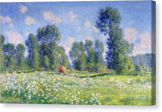 Meadow Canvas Print - Effect Of Spring At Giverny by Claude Monet
