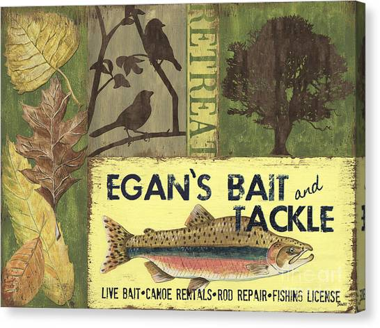 Canoes Canvas Print - Egan's Bait And Tackle Lodge by Debbie DeWitt