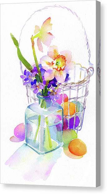 Easter Baskets Canvas Print - Egg Basket With Flowers by John Keeling