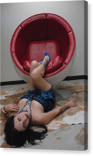 Sex Kitten Canvas Print - Egg Chair - Grounded by Liezel Rubin