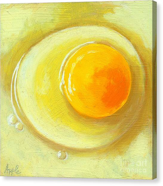 Egg On A Plate - Realism Painting Canvas Print