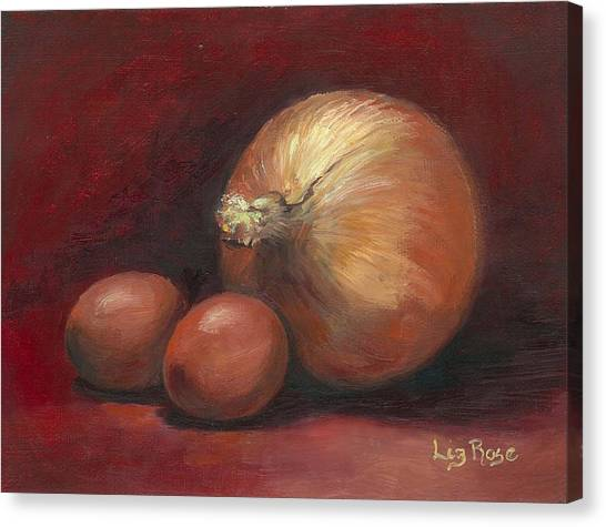Eggs And Onions Canvas Print by Liz Rose