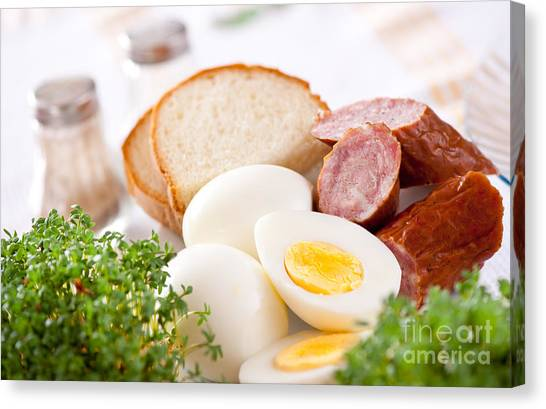 Watercress Canvas Print - Eggs And Sausage Traditional Easter Food by Arletta Cwalina