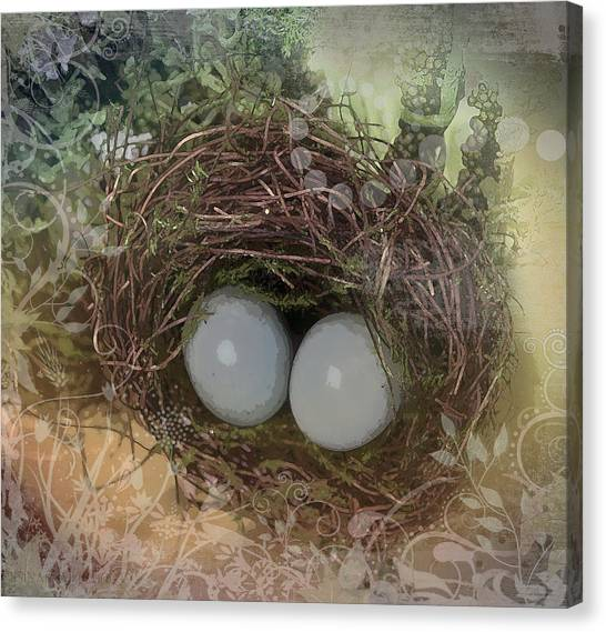 Easter Baskets Canvas Print - Eggs In A Nest by Susan Vineyard