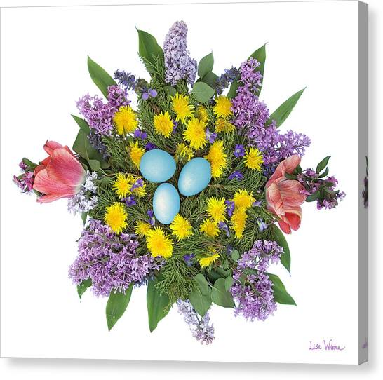 Eggs In Dandelions, Lilacs, Violets And Tulips Canvas Print