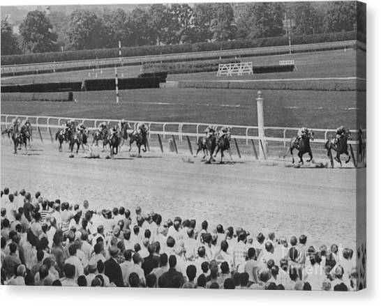 Egomaniac Heads For Victory On Opening Day At Belmont. 1969 Canvas Print by Anthony Calvacca