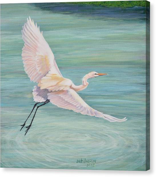 Canvas Print featuring the painting Egret by Jeanette Jarmon