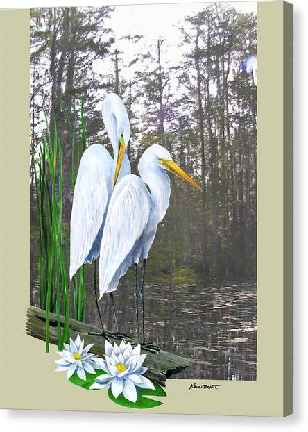 Egrets And Cypress Pond Canvas Print