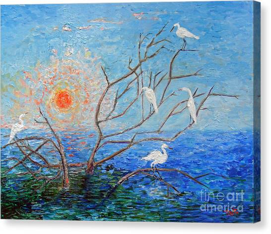 Egrets At Sunrise Canvas Print