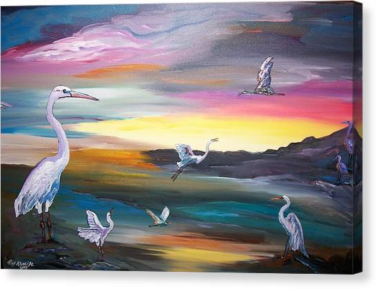 Egrets In Flight Canvas Print