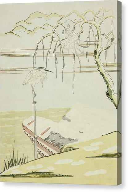 Suzuki Canvas Print - Egrets In The Snow by Suzuki Harunobu