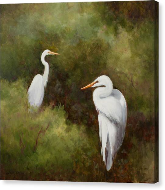 Egrets Roosting Canvas Print
