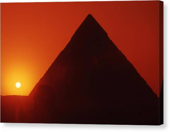 Egypt. Sunset Behind The Sphinx And Chephren Pyramid. Canvas Print by Steve Outram
