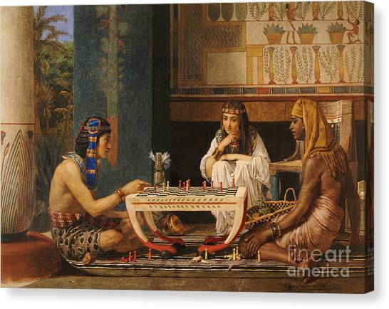 Egyptian Canvas Print - Egyptian Chess Players by Sir Lawrence Alma-Tadema