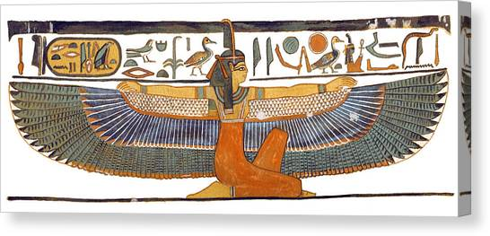 Egyptian Art Canvas Print - Egyptian Goddess Maat With Outstretched Wings by Ben  Morales-Correa