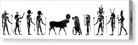 Archeology Canvas Print - Egyptian Gods And Demons by Michal Boubin