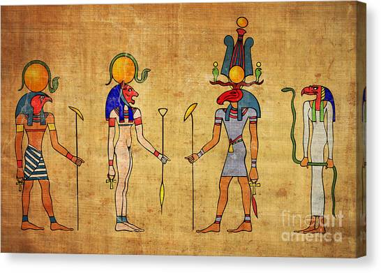 Archeology Canvas Print - Egyptian Gods And Goddness by Michal Boubin
