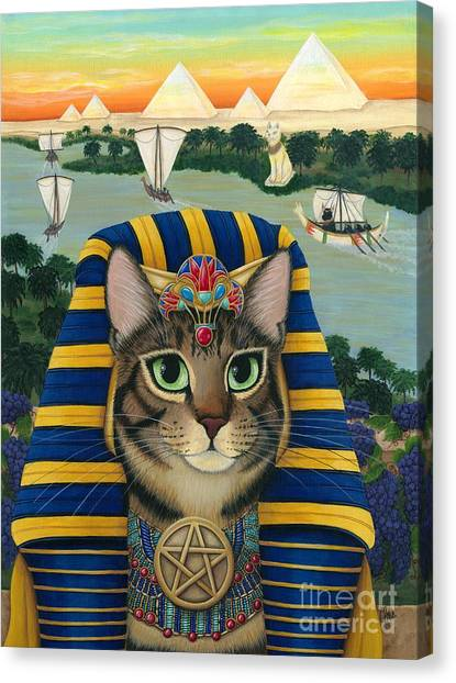 Egyptian Maus Canvas Print - Egyptian Pharaoh Cat - King Of Pentacles by Carrie Hawks