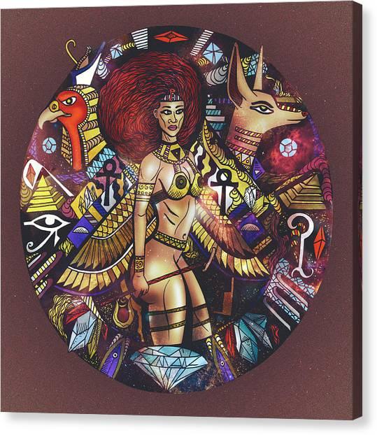 Warrior Goddess Canvas Print - Egyptian Warrior Goddess Solaire by Kenal Louis