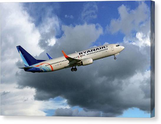 Airlines Canvas Print - Ei-fed Ryanair Boeing 737 by Smart Aviation
