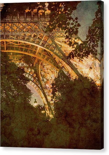 Canvas Print featuring the photograph Paris, France - Eiffel Oldplate II by Mark Forte
