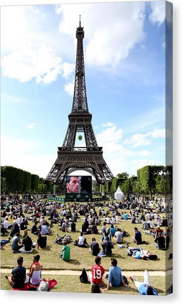 Novak Djokovic Canvas Print - Eiffel Tower 14 by Andrew Fare