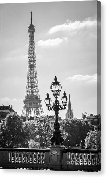 Street Lights Canvas Print - Eiffel Tower And Bridge Alexandre IIi by Delphimages Photo Creations