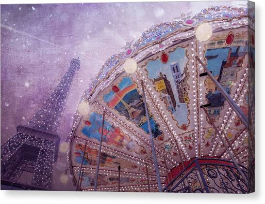 Canvas Print featuring the photograph Eiffel Tower And Carousel by Clare Bambers