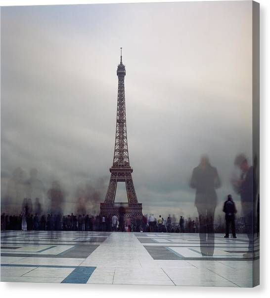 People Canvas Print - Eiffel Tower And Crowds by Zeb Andrews