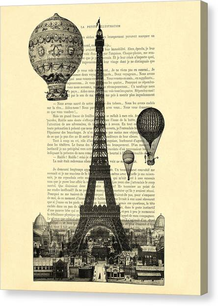 Eiffel Tower Canvas Print - Eiffel Tower And Hot Air Balloons by Madame Memento