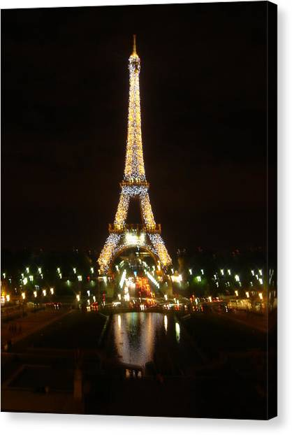 Eiffel Tower At Night Canvas Print by John Julio