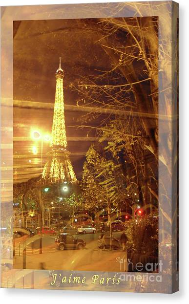Eiffel Tower By Bus Tour Greeting Card Poster Canvas Print