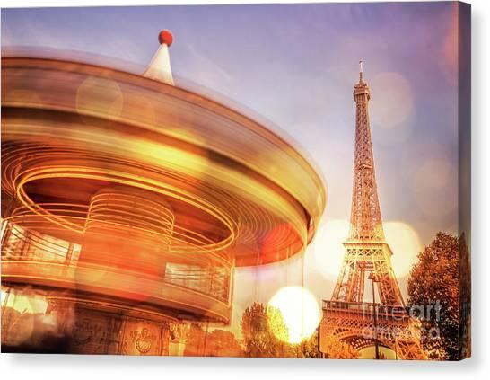 Parisian Canvas Print - Eiffel Tower Carousel by Delphimages Photo Creations