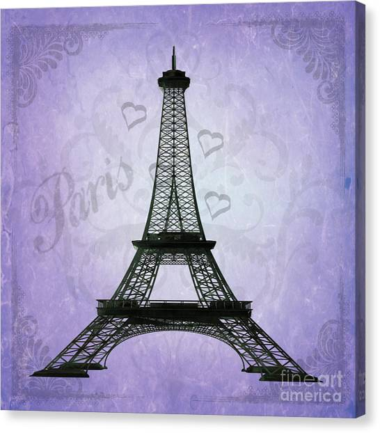 Eiffel Tower Collage Purple Canvas Print