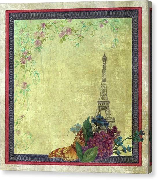 Canvas Print featuring the painting Eiffel Tower Faded Floral With Swirls by Judith Cheng